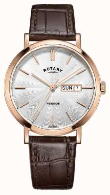 Rotary Mens bracelet en cuir brun rose doré GS05304/02