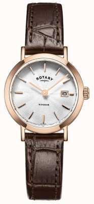 Rotary Womens cuir brun cadran bracelet en argent LS05304/02