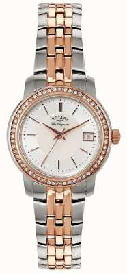 Rotary Womens deux tons cadran bracelet en argent LB90092/41