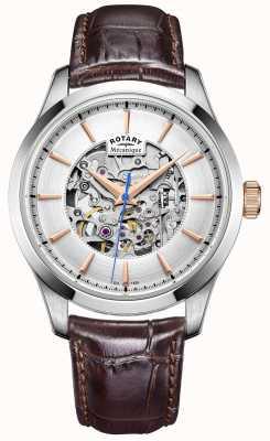 Rotary Mens cadran argenté brun bracelet en cuir GS05032/06