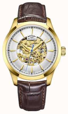 Rotary Mens cuir marron bracelet co GS05035/03