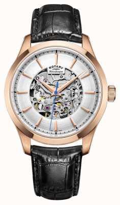Rotary Mens bracelet en cuir or rose plaqué cas GS05036/06