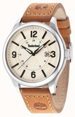 Timberland Mens bracelet en cuir brun cadran beige 14645JS/07