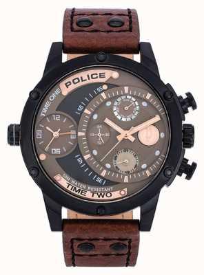 Police bracelet en cuir brun cadran noir 14536JSB/12A