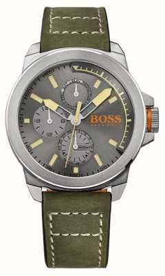 Hugo Boss Orange Mens cuir vert cadran bracelet en gris 1513318
