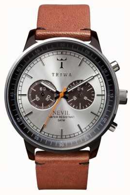 Triwa cadran argenté unisexe bracelet en cuir brun NEAC102-ST010212