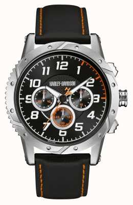 Harley Davidson Mens bracelet en cuir cadran de chronographe noir 76B171