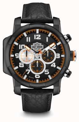 Harley Davidson Mens bracelet en cuir noir chronographe 78B139