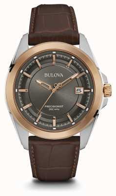 Bulova Mens cadran brun bracelet gris boîtier en or rose 98B267