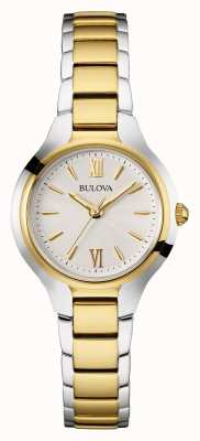 Bulova Womens deux tons bracelet cadran blanc 98W221