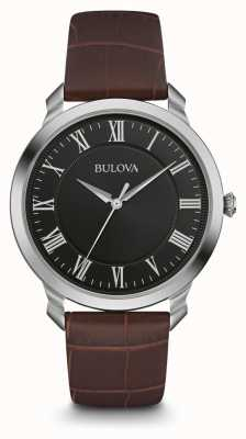 Bulova Mens cadran noir bracelet brun en cuir 96A184