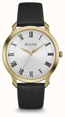 Bulova Mens bracelet en cuir noir cadran blanc 97A123
