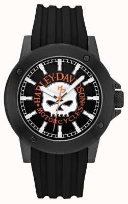 Harley Davidson cuir Mens bracelet noir cadran noir 78A115