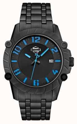 Harley Davidson Mens bracelet noir boîtier noir 78B132