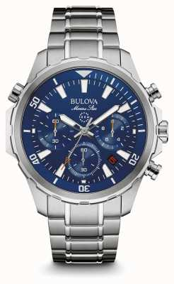 Bulova Mens cadran bleu marine chronographe étoiles 96B256