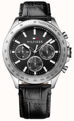 Tommy Hilfiger Mens hudson bracelet en cuir noir 1791224