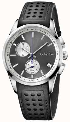 Calvin Klein Mens chronographe gras cuir noir K5A371C3