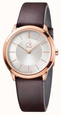 Calvin Klein Mens cadran argenté minimal boîtier en or rose K3M226G6