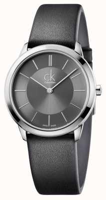 Calvin Klein Mens Watch minimal bracelet en cuir noir K3M221C4