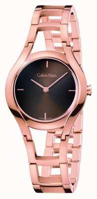 Calvin Klein Womens montre de classe plaqué or rose dia brun K6R2362K