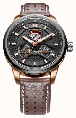 FIYTA Mens bracelet en cuir brun cadran rond GA866002.MBR