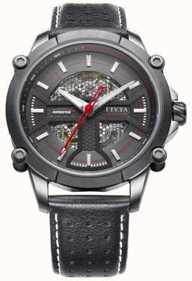 FIYTA Mens bracelet en cuir noir cadran rond noir WGA866001.CBB