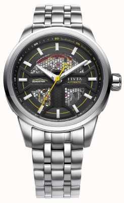 FIYTA Mens bracelet en acier inoxydable cadran noir GA866003.WBW