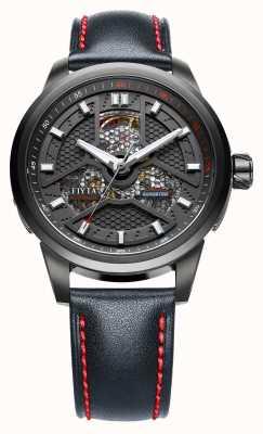 FIYTA Mens bracelet noir cadran rond noir WGA1008.BBB