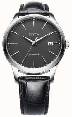 FIYTA Mens cuir noir cadran bracelet en gris WGA1010.WHB