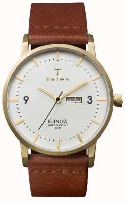 Triwa Unisexe Klinga bracelet en cuir brun cadran blanc KLST103-CL010213