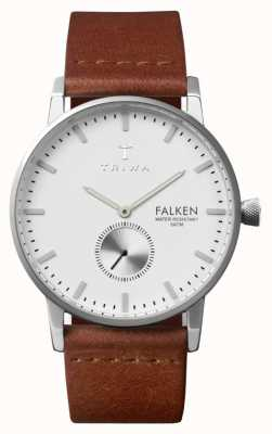 Triwa Mens Falken bracelet en cuir brun cadran blanc FAST103-CL010212