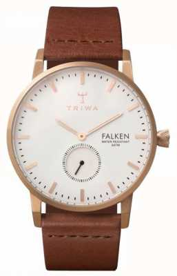 Triwa falken unisexe bracelet en cuir brun cadran blanc FAST101-CL010214