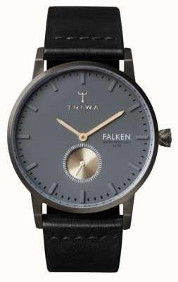 Triwa Mens Falken cuir noir cadran bracelet en gris FAST102-CL010113