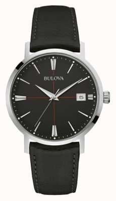 Bulova Mens cadran noir bracelet en cuir noir 96B243