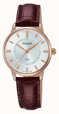 Pulsar argent Womens motif cadran bracelet brun PH8180X1