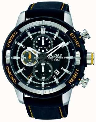 Pulsar Mens bracelet en silicone noir cadran à motif noir PM3053X1