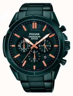 Pulsar Mens cadran noir bracelet en acier inoxydable PT3765X1