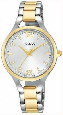 Pulsar Womens deux sangle de ton cadran rond blanc PH8186X1