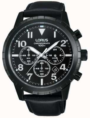 Lorus Mens chronographe bracelet en cuir noir RT365FX9