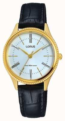 Lorus Mens classique bracelet en cuir noir cadran blanc RRS68VX9