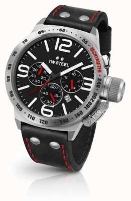 TW Steel Mens cantine cadran noir bracelet en cuir noir CS10