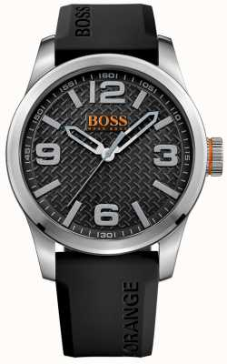 Hugo Boss Orange Mens paris bracelet en caoutchouc noir cadran noir 1513350