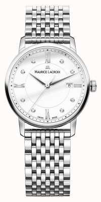 Maurice Lacroix Eliros lutte en acier inoxydable avec des diamants reflètent EL1094-SS002-150-1