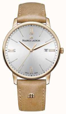 Maurice Lacroix Mens cadran argenté lumière bracelet en cuir brun EL1118-PVP01-111-2