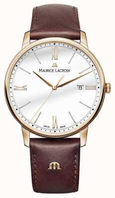 Maurice Lacroix Mens blanc cadran rond bracelet en cuir brun EL1118-PVP01-112-1