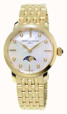 Frederique Constant Slimline femmes de Moonphase diamant or jaune serti plaqué FC-206MPWD1S5B