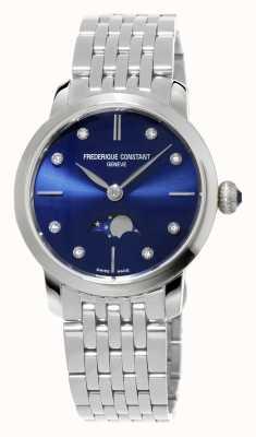 Frederique Constant womens Moonphase Slimline marine diamant en acier inoxydable fixé FC-206ND1S26B