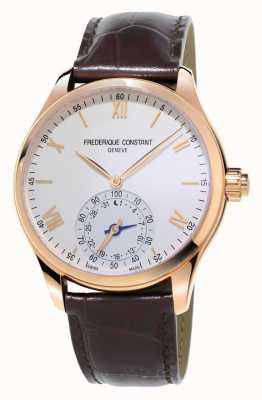 Frederique Constant cuir marron smartwatch Horological rose doré FC-285V5B4
