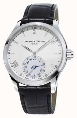 Frederique Constant Horological smartwatch cadran blanc bracelet en cuir noir FC-285S5B6