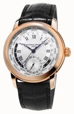 Frederique Constant Fabrication worldtimer bracelet en alligator rose doré FC-718MC4H4